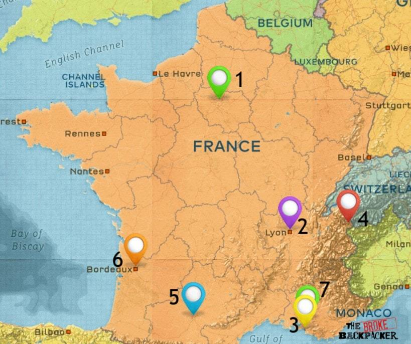 Map of Where to Stay in France