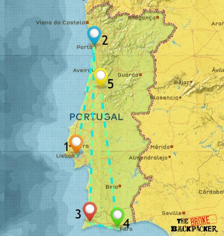 Map of Where to Stay in Portugal