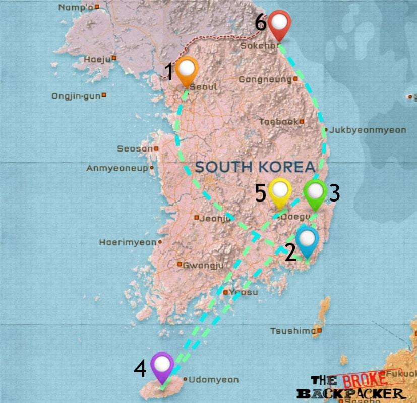 Map of Where to Stay in South Korea