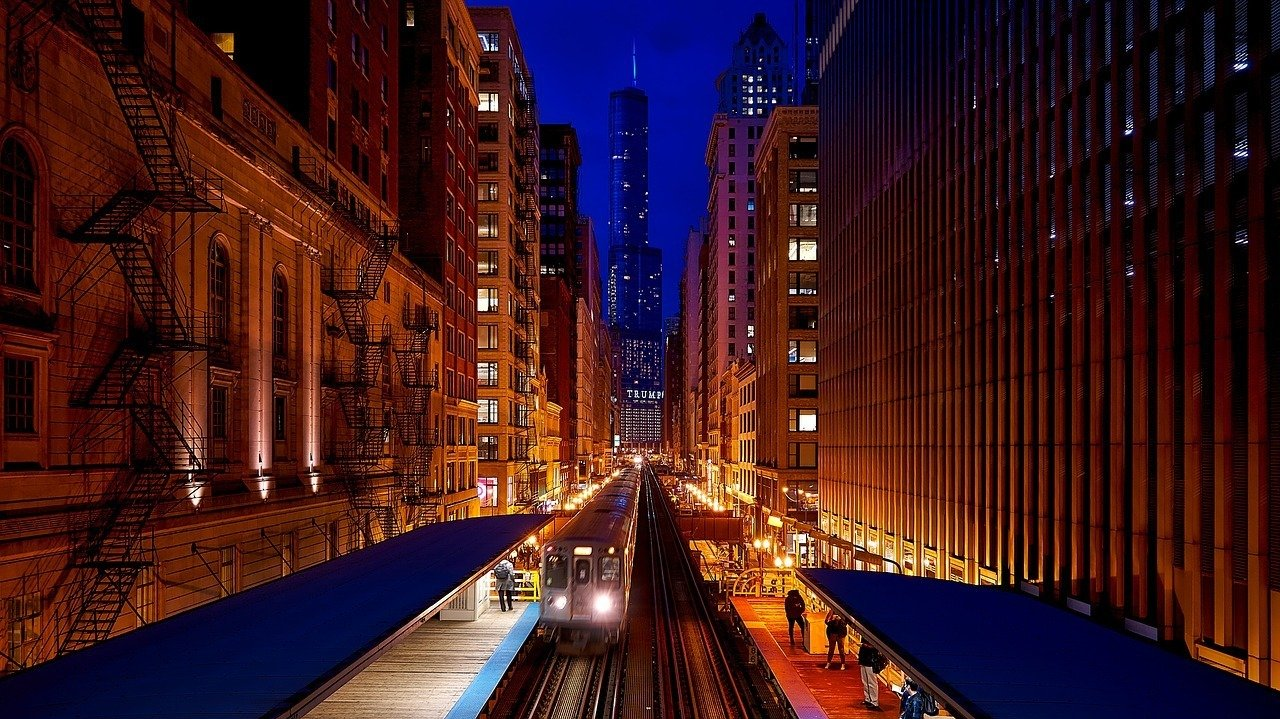 chicago city at night midwest