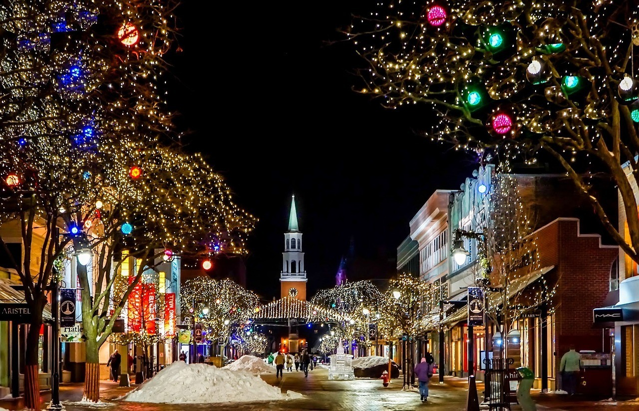burlington town during the holidays at night new england road trip