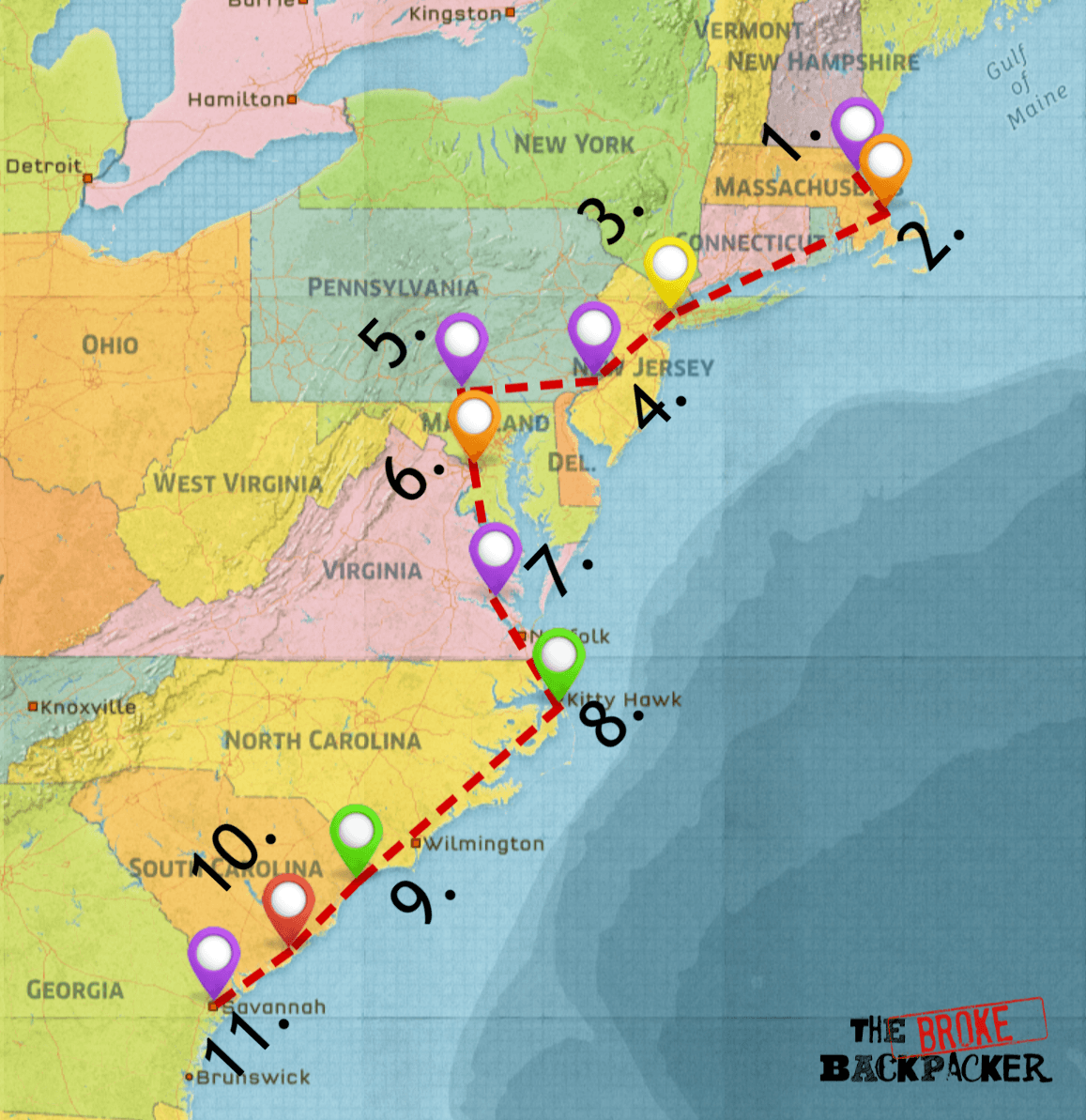 east coast road trip map - driving itinerary #2