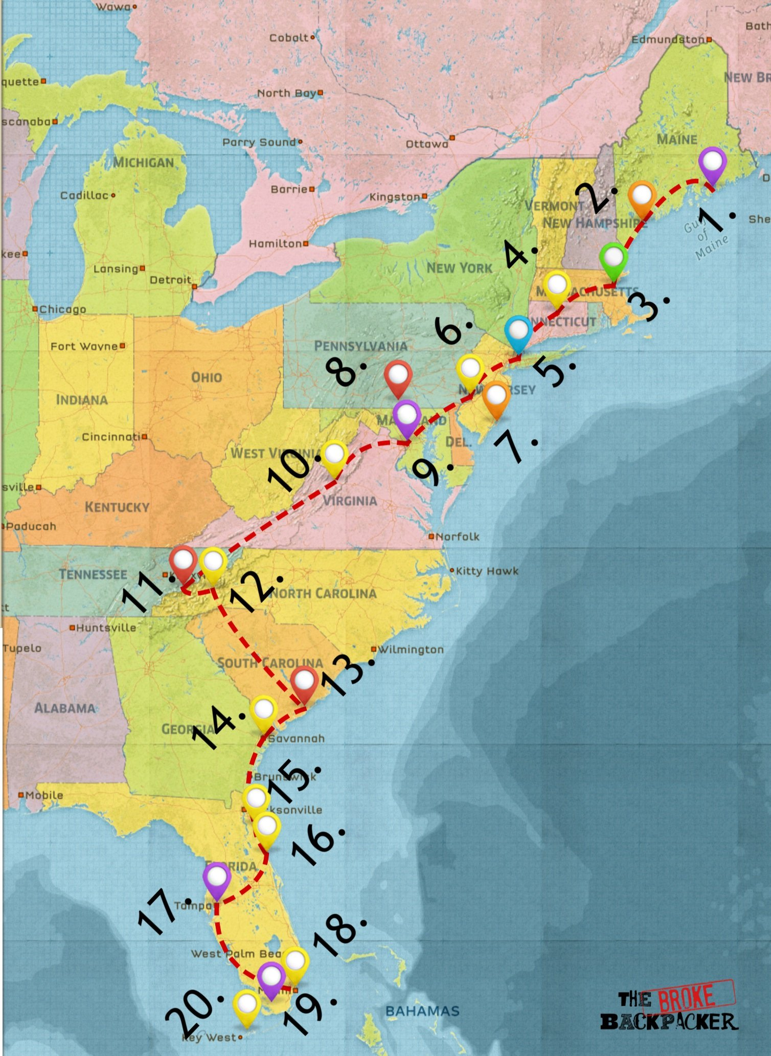 east coast road trip map - driving itinerary #3