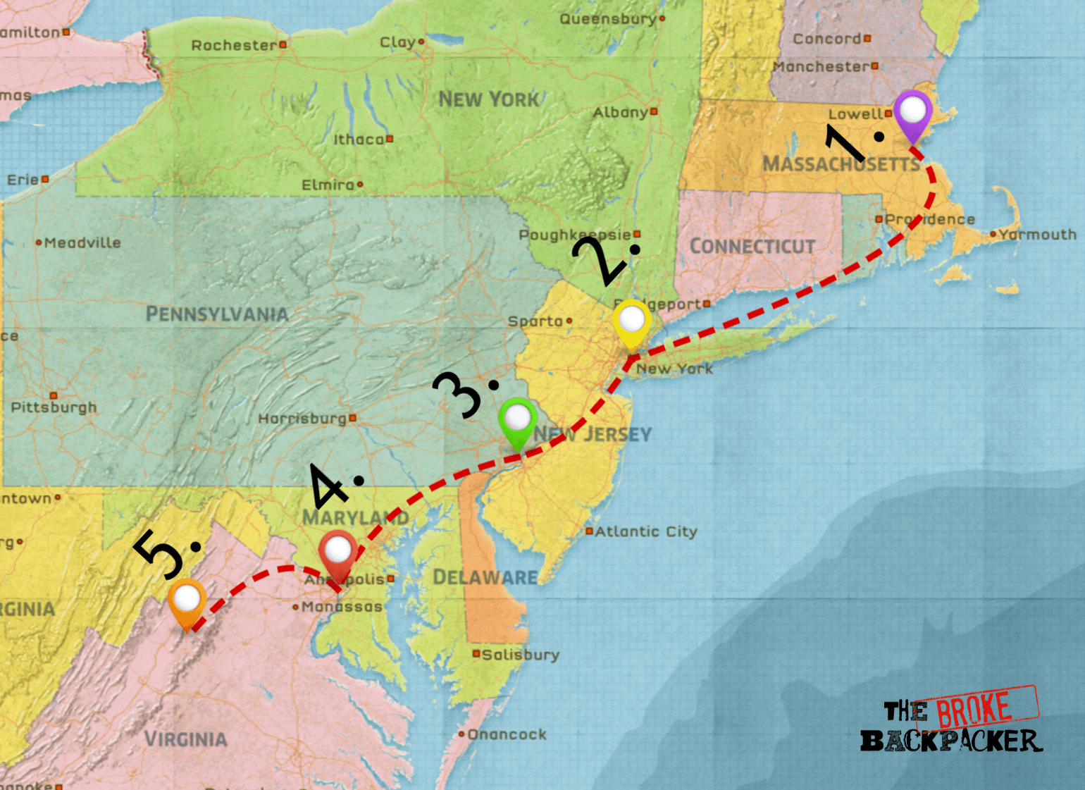 east coast road trip map - driving itinerary #1