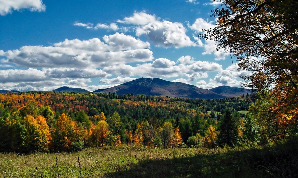 campground new england with fall folaige and mountains