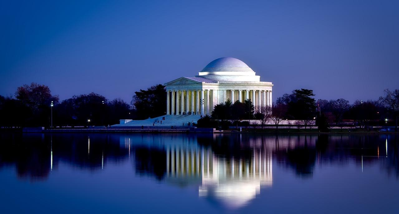 jefferson memorial at night while driving through washington d.c.