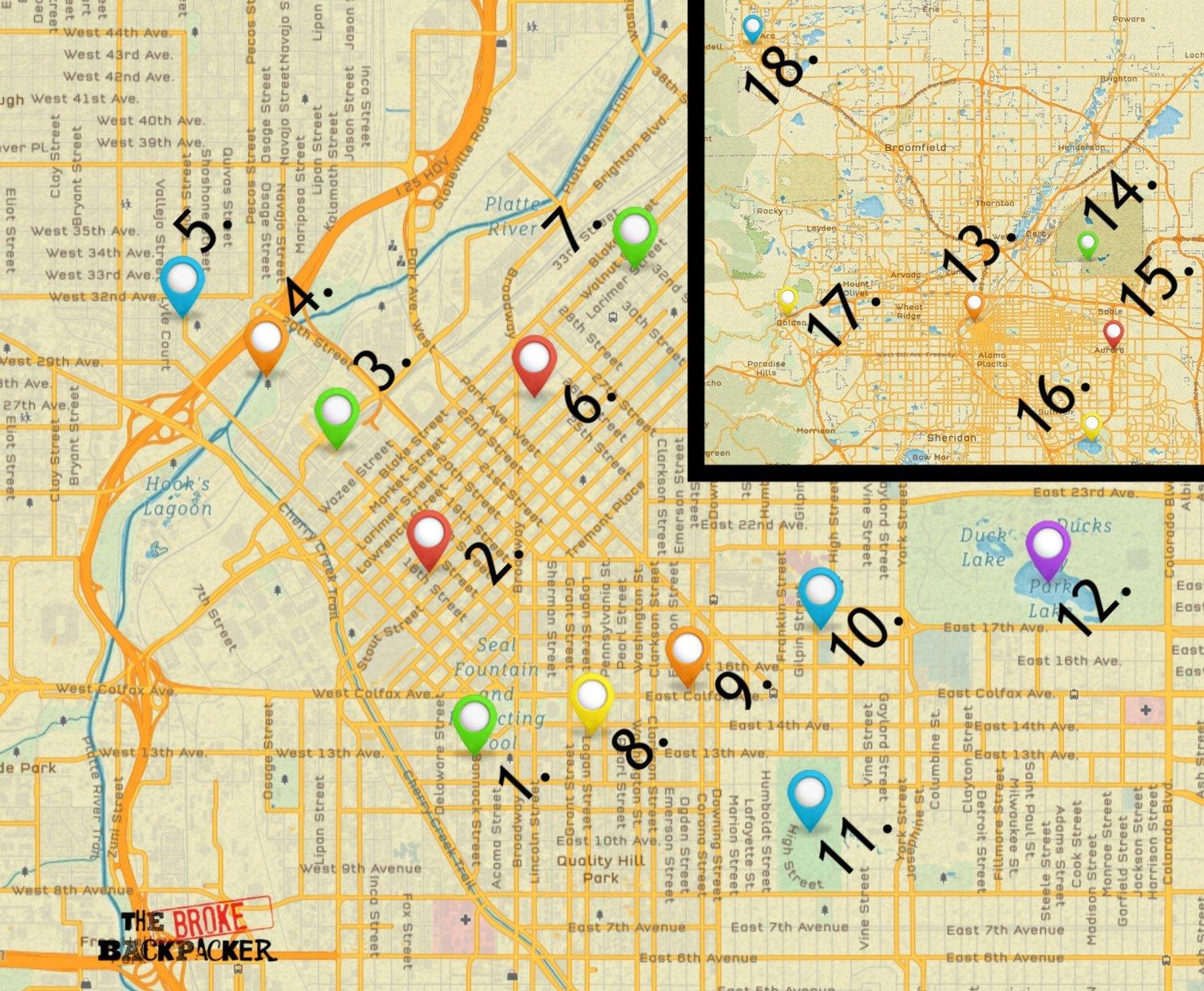 map denver travel guide