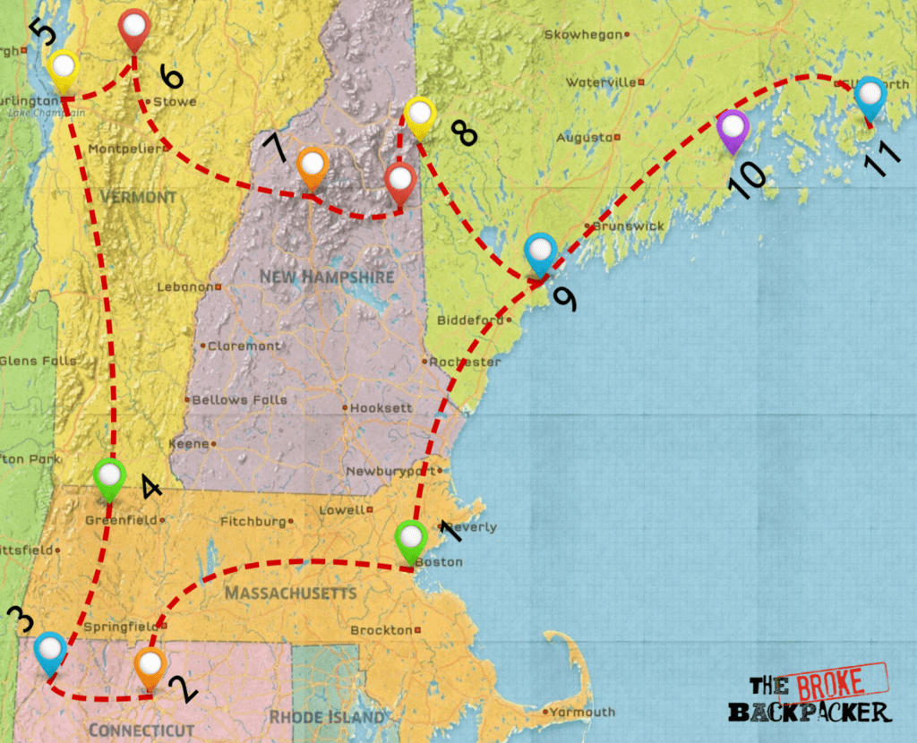 road trip in new england map 7 day itinerary