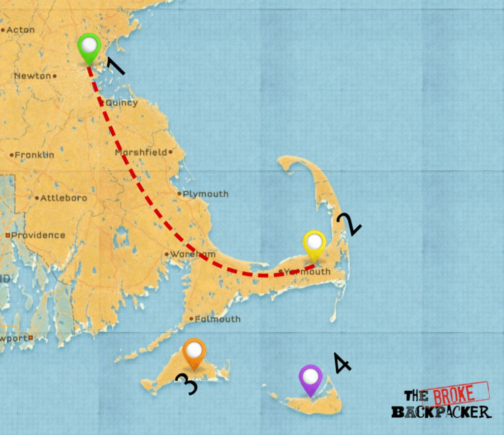 road trip in new england map 4 day itinerary