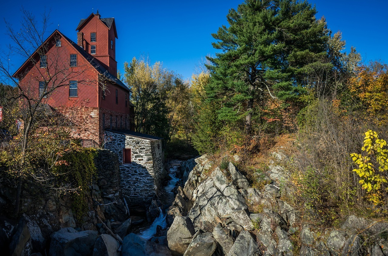 old mill in new england fall road trip
