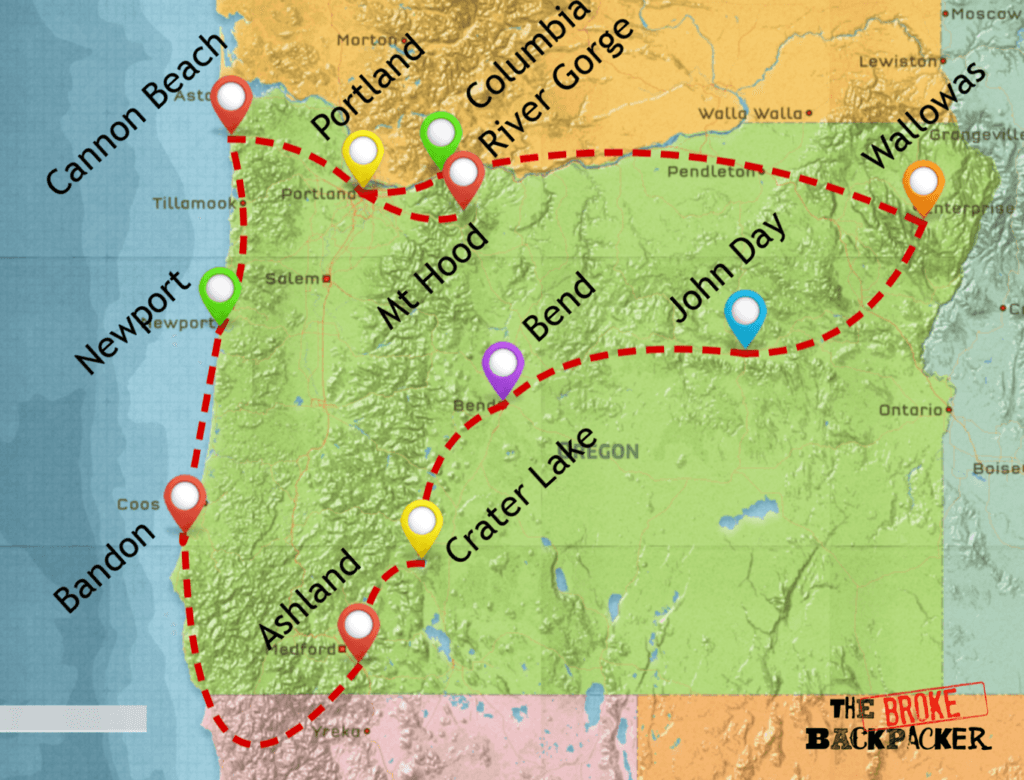 oregon road trip map itinerary 14 days