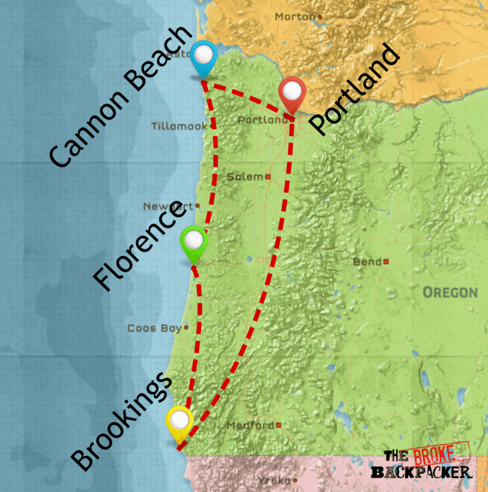 oregon road trip map itinerary 4 days