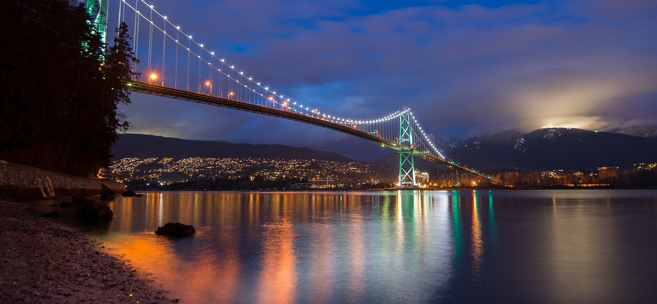 backpacking vancouver bridge at night