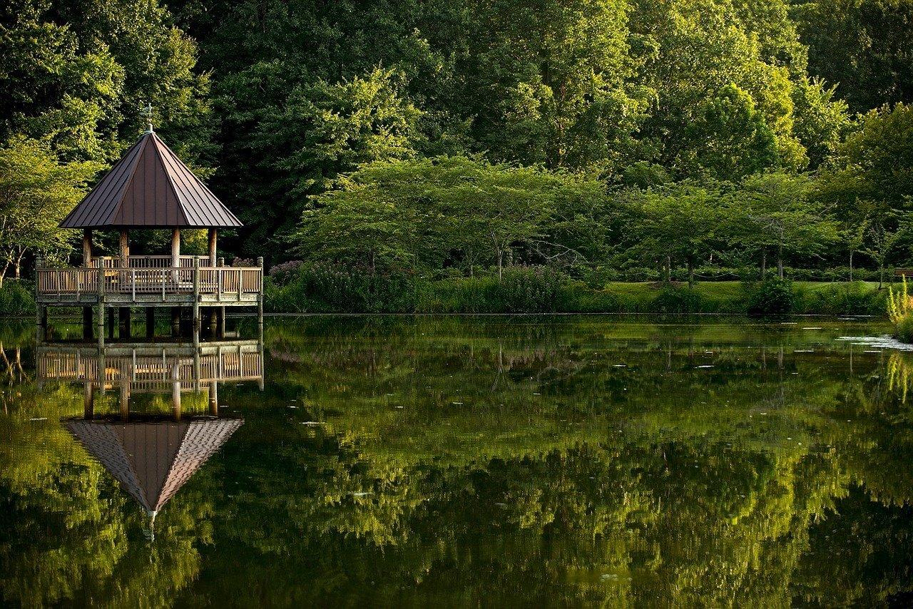 virginia serene lake with gazeebo