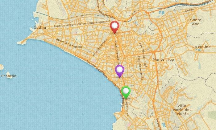Red = Historic Centre, Purple = Miraflores, Green = Barranco
