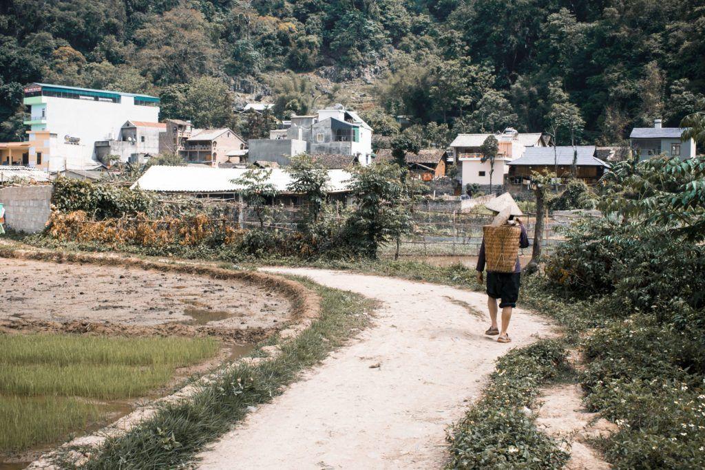 Farmer in a village on the Ha-Giang Loop in Vietnam