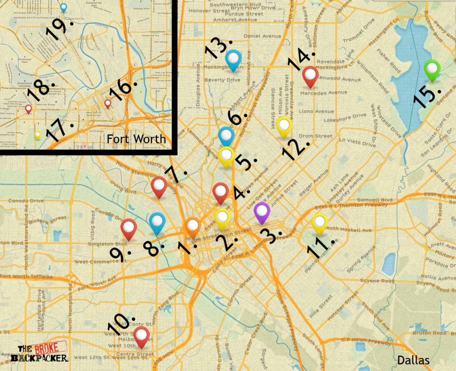 map of dallas attractions