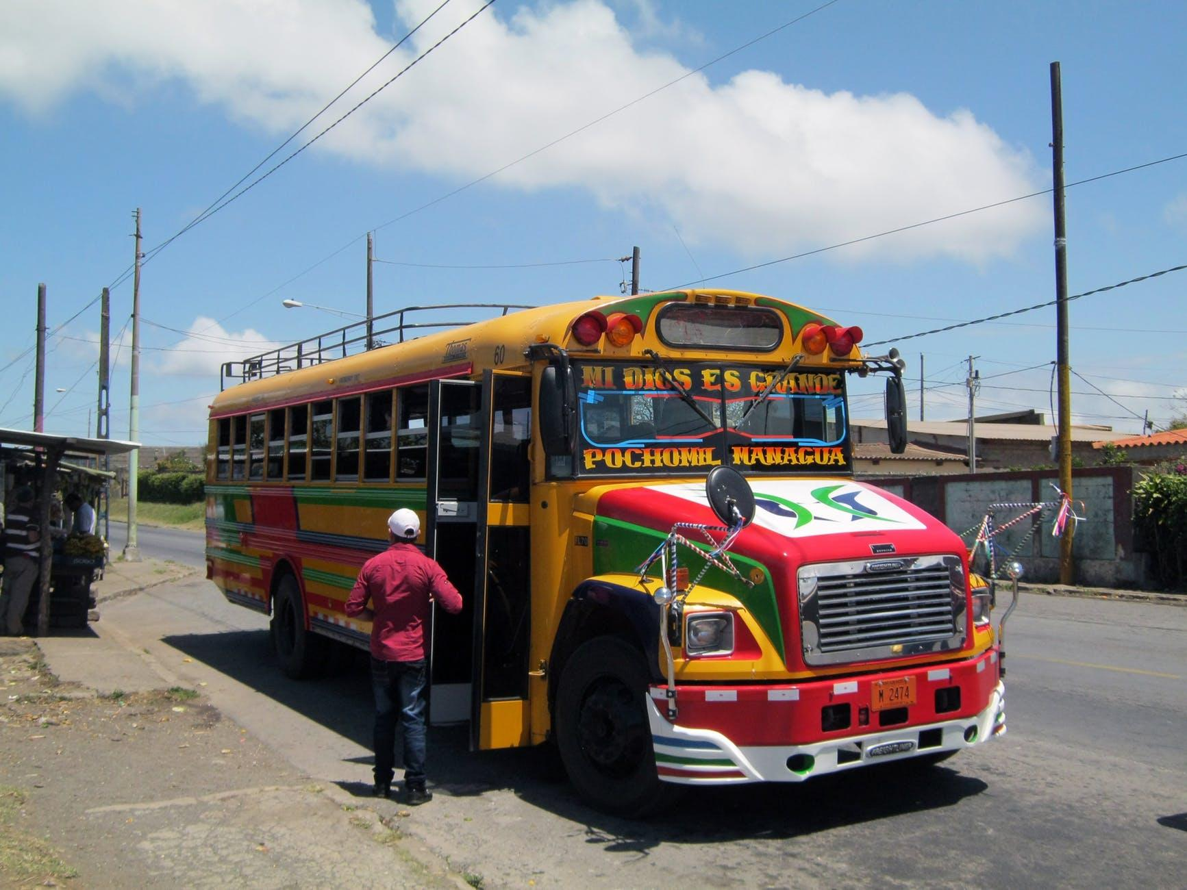 The classic chicken bus in Nicaragua