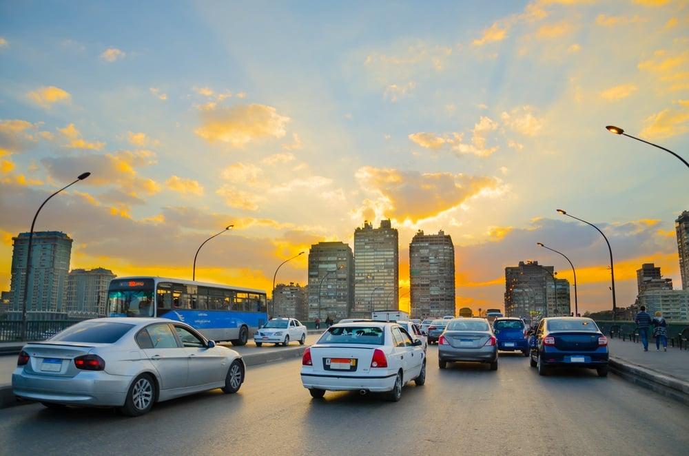 A dangerous busy road in Egypt