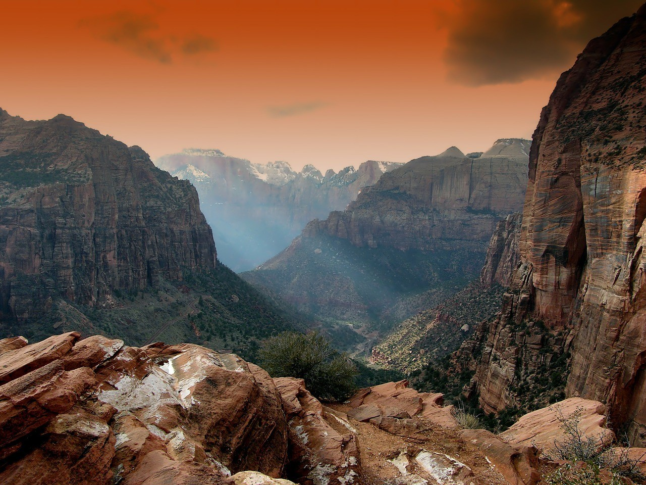 Famous lookout viewing a colourful valley in Zion National Park