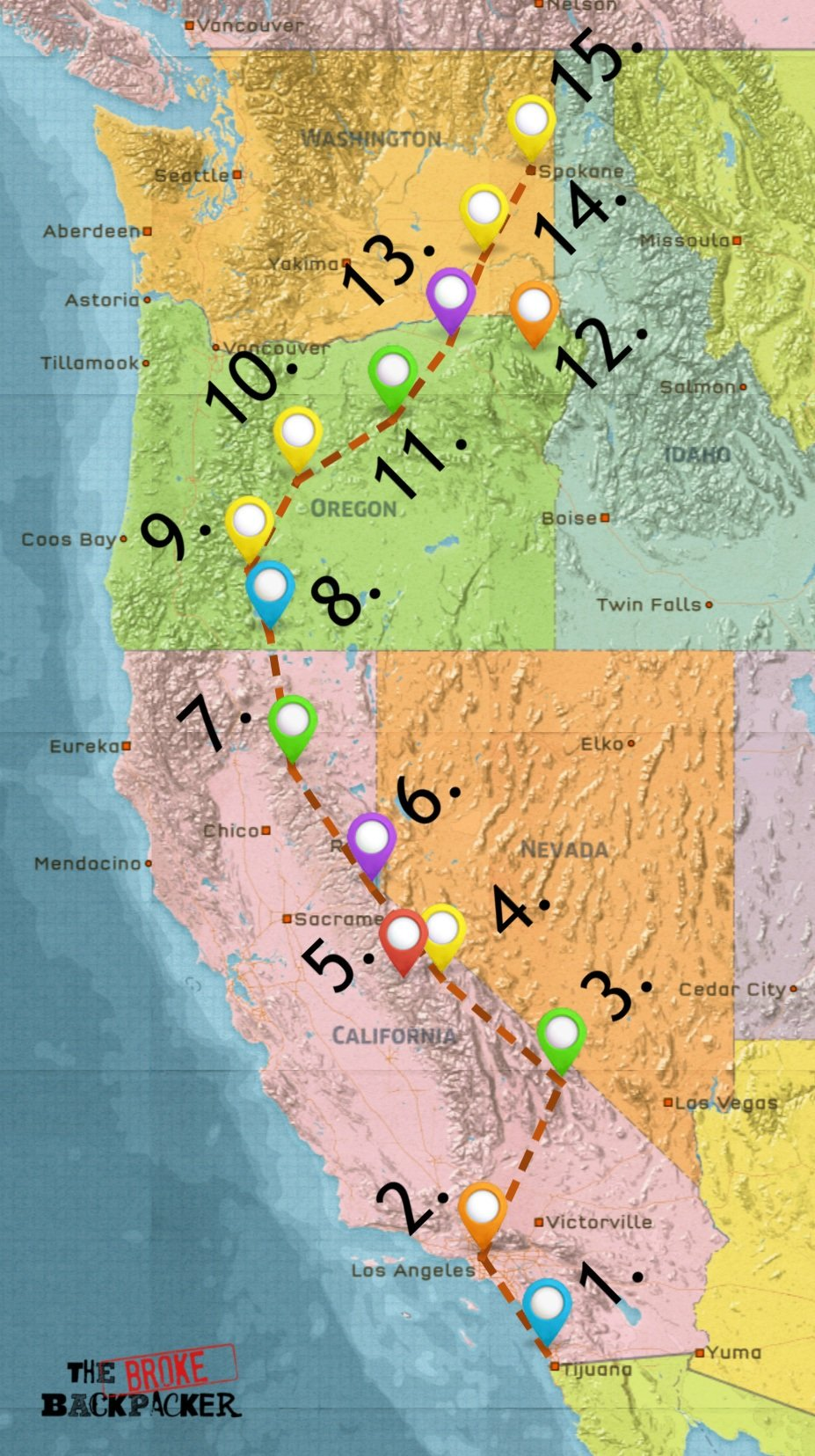 map of the west coast itinerary