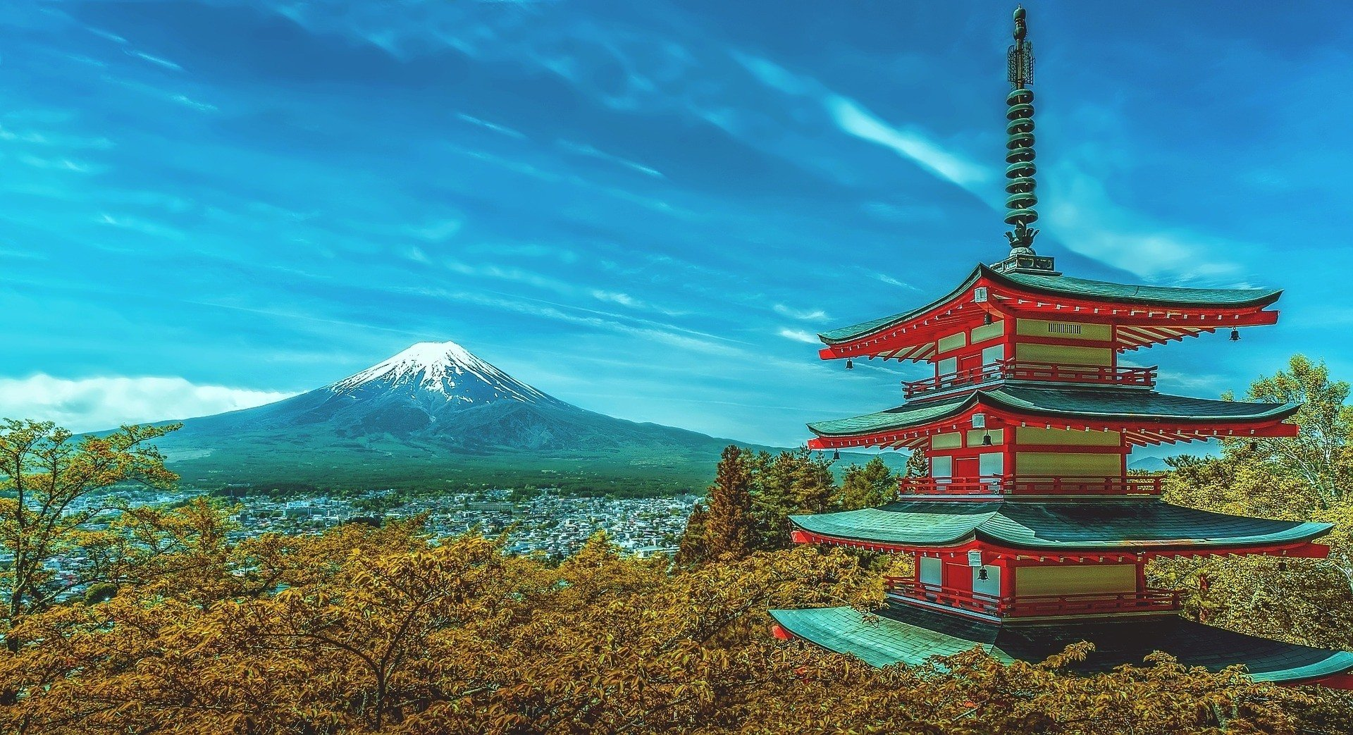 A temple in Japan with Mount Fuji behind