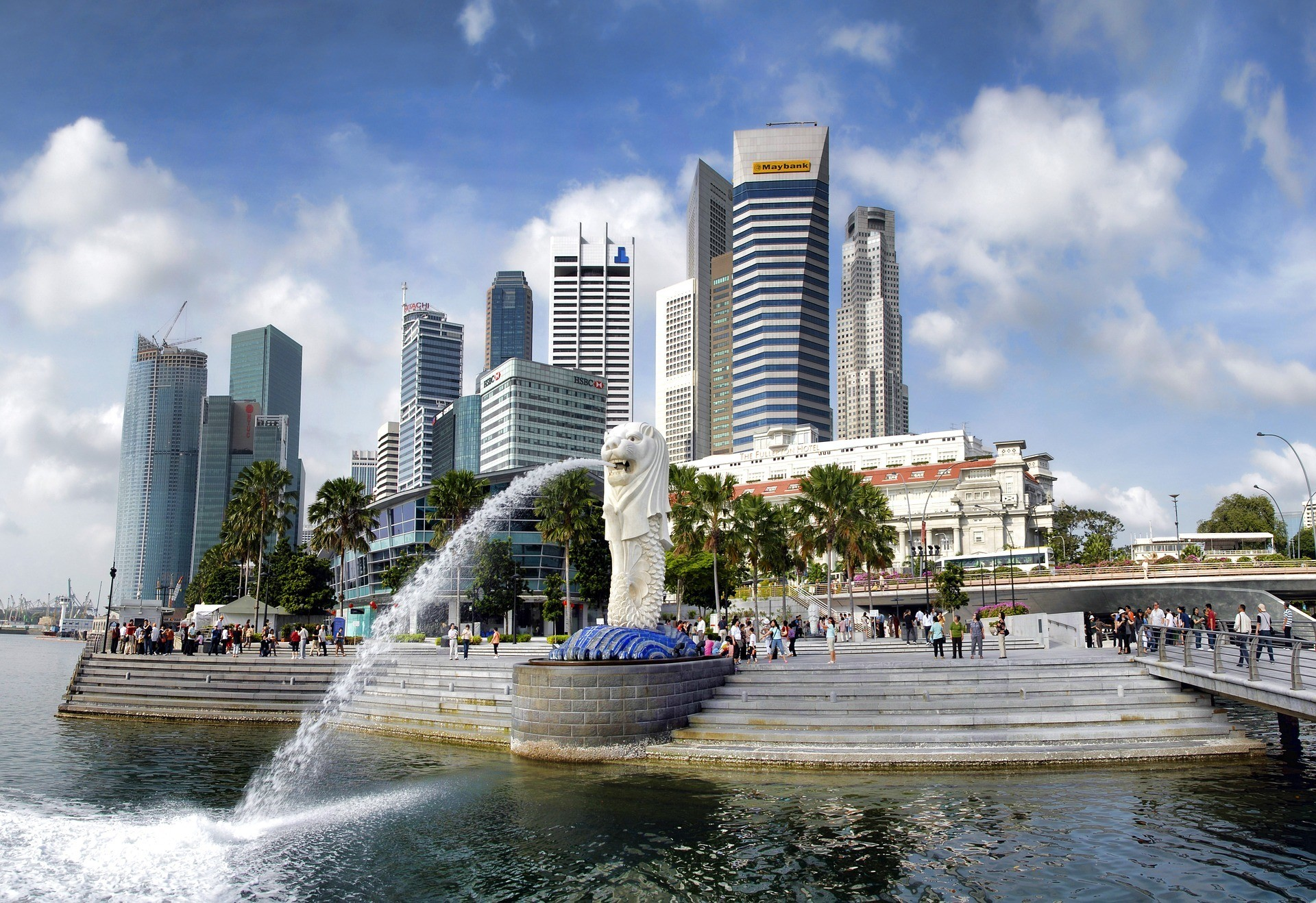 Fountain on the water in Singapore