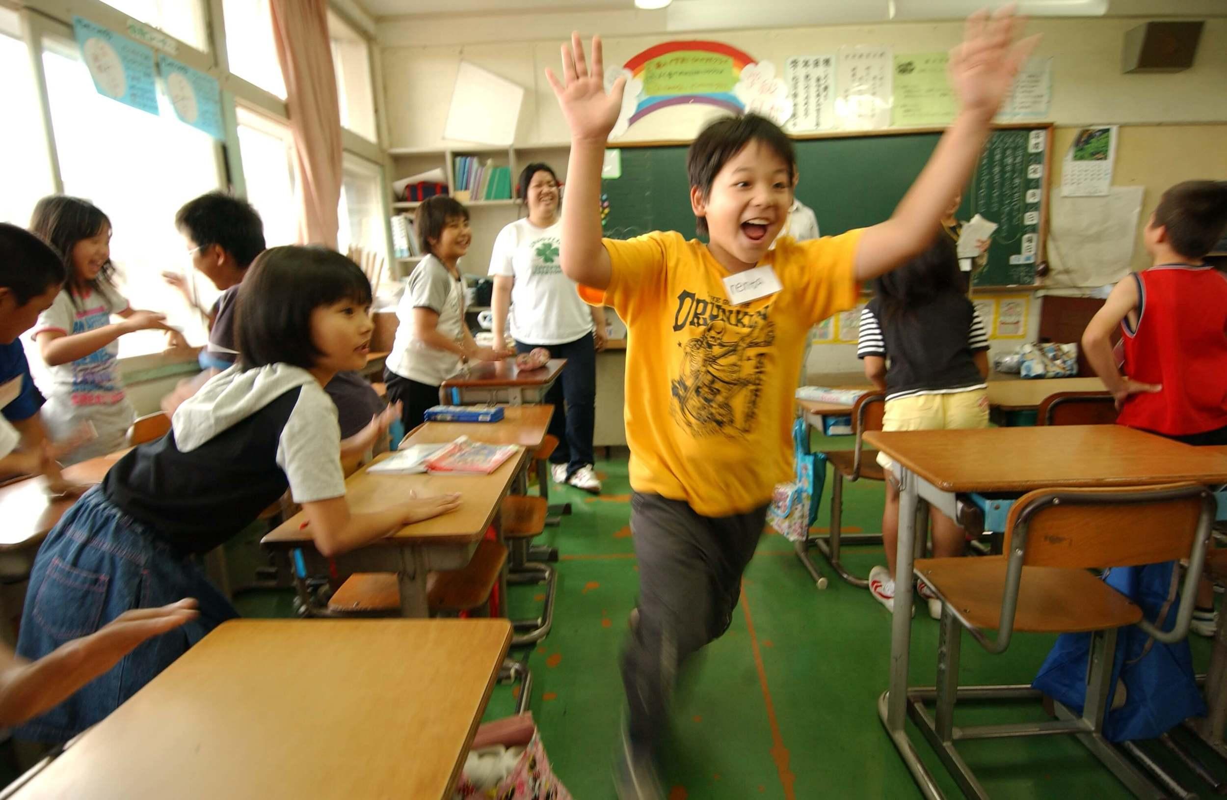 happy kids in classroom