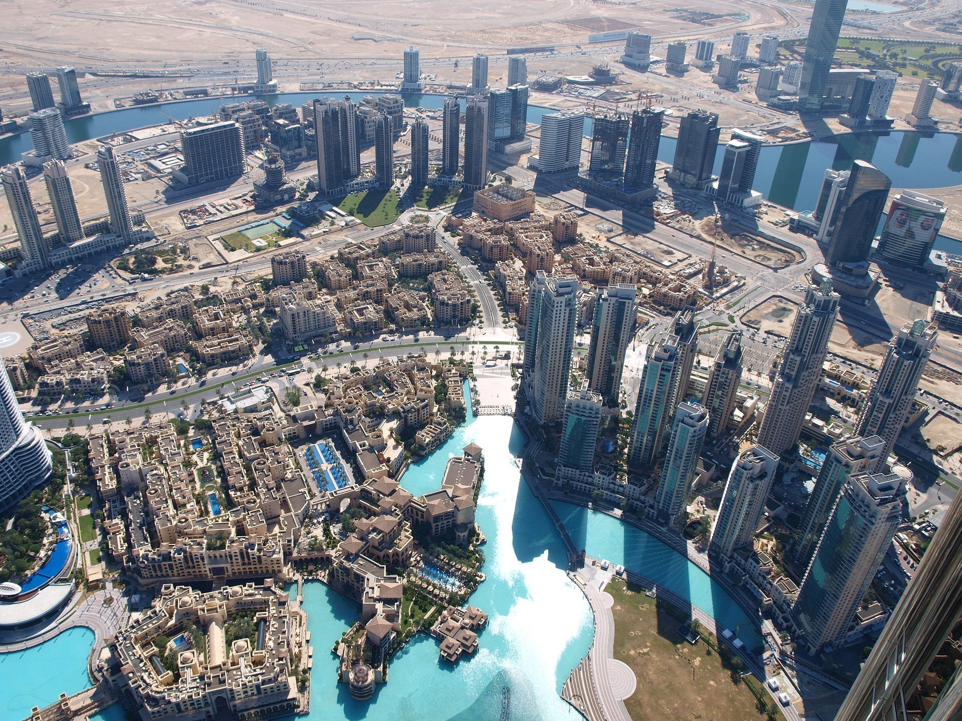 Aerial shot of Dubai city looking very safe
