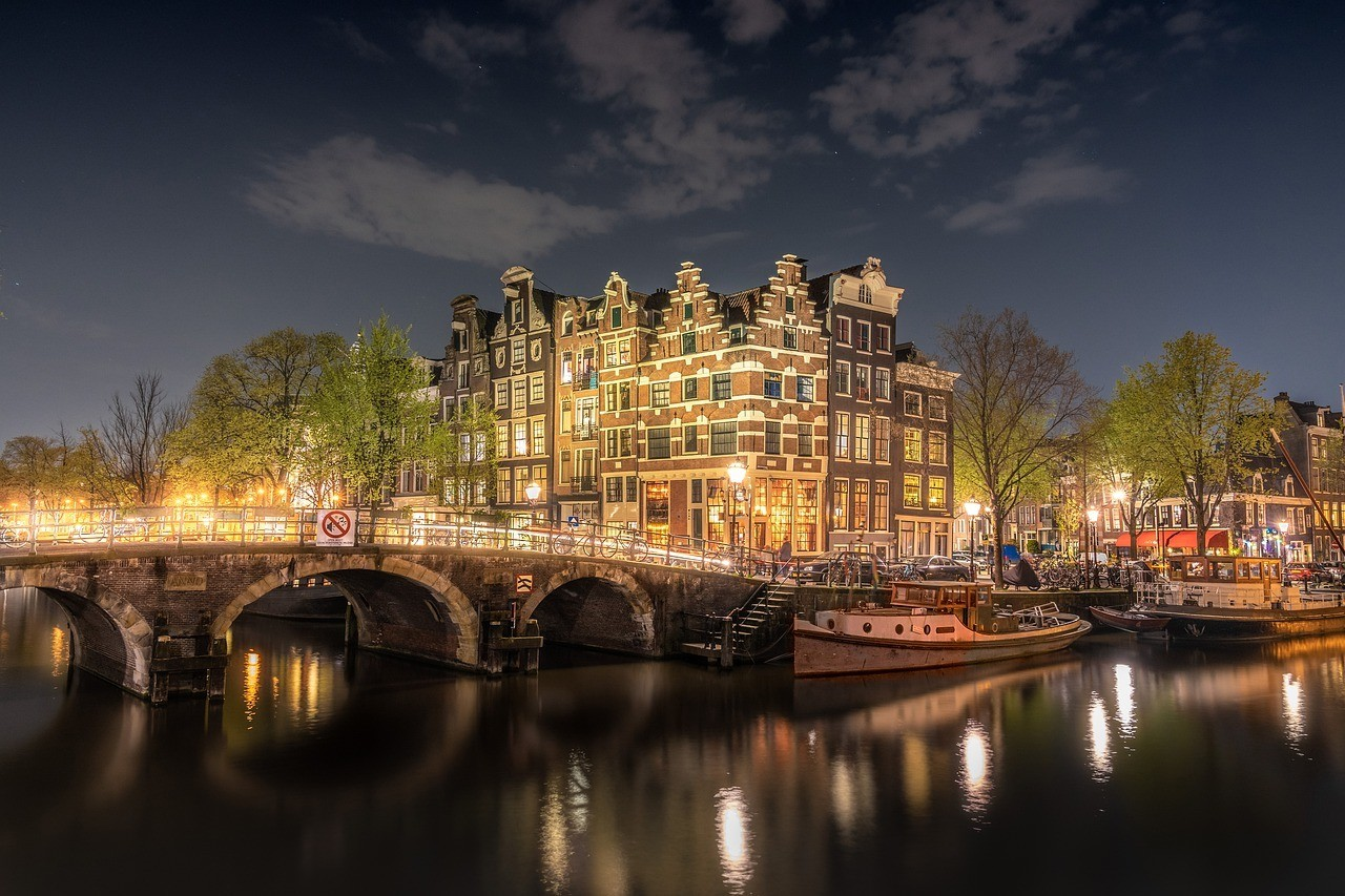 A famous bridge landmark in Amsterdam