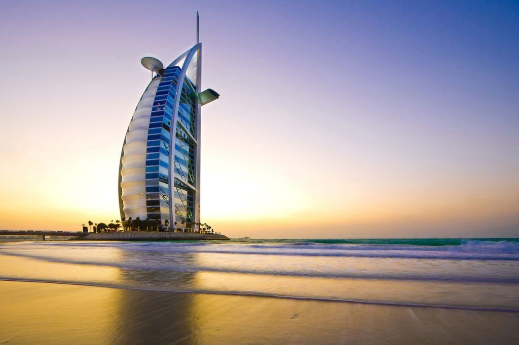 Empty beach and hotel in Dubai before lifting international travel restrictions to Americans