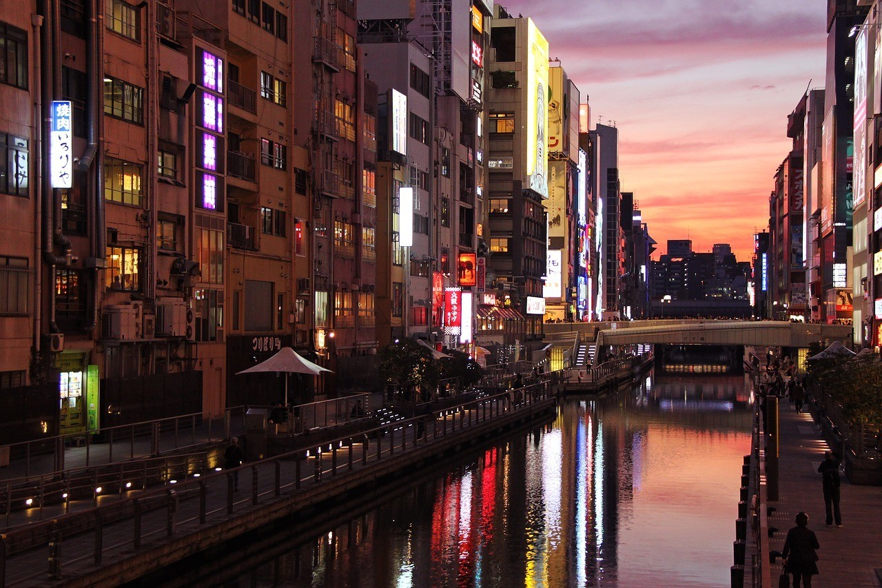 River at night and a romantic spot for an Osaka itinerary