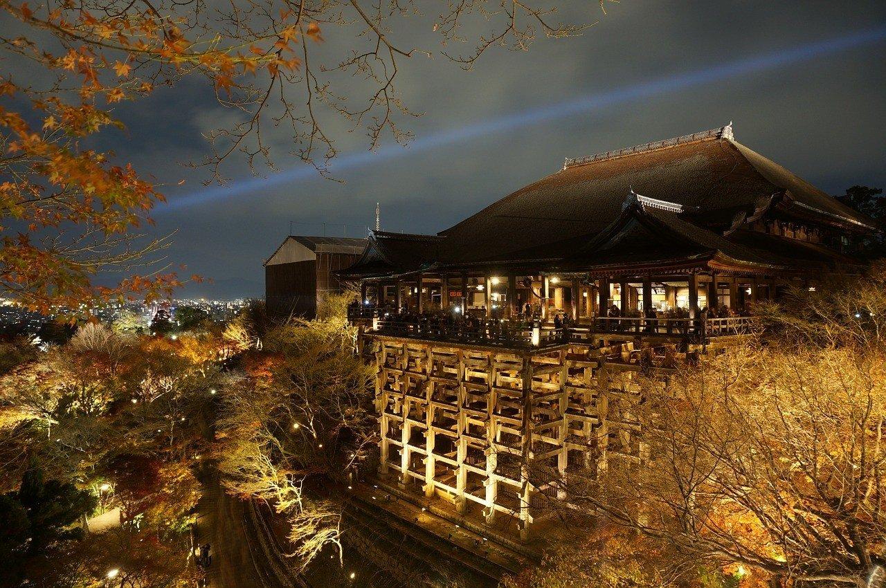 Osaka temple at night
