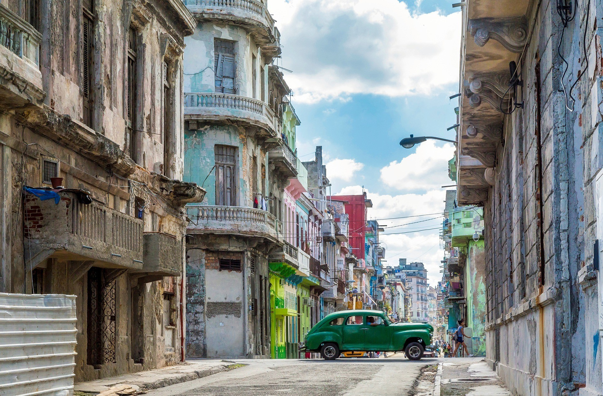 Old-timey car in a street in Havana - the capital of Cuba