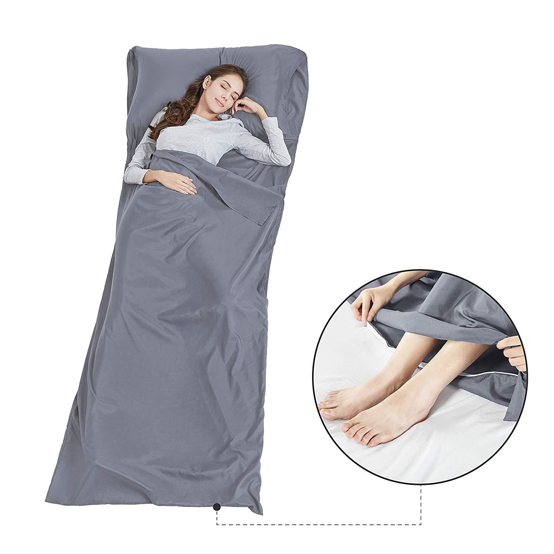SCM Silk Soft Sleeping Bag Liner with Zip