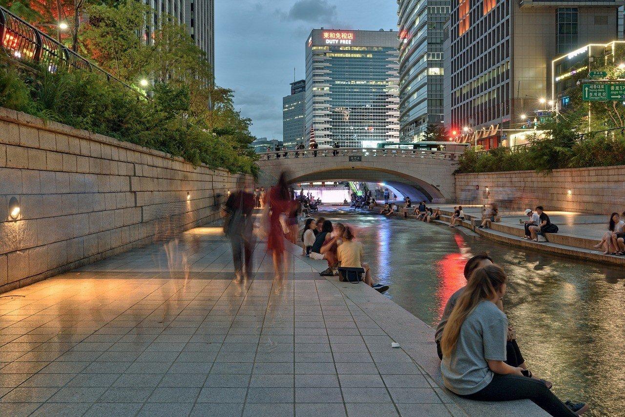Cheonggyecheon Stream with Seoul's nightlife