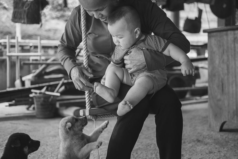 Baby and puppies photographed while volunteering in Vietnam