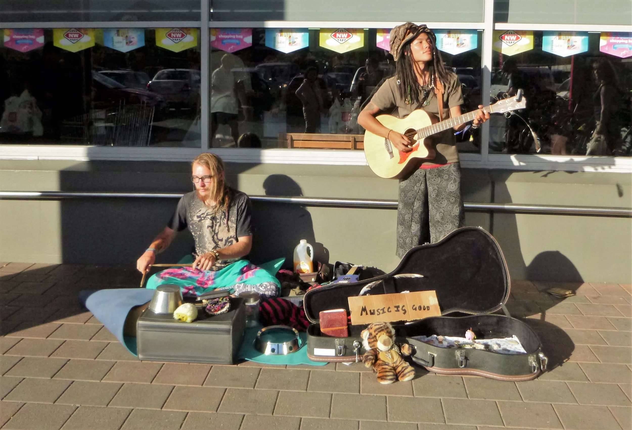 Our busking setup in Wanaka, New Zealand