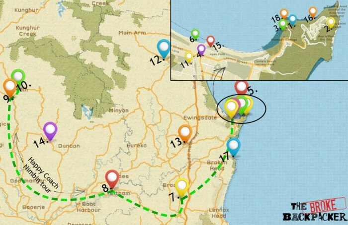 A map of Byron Bay for your itinerary