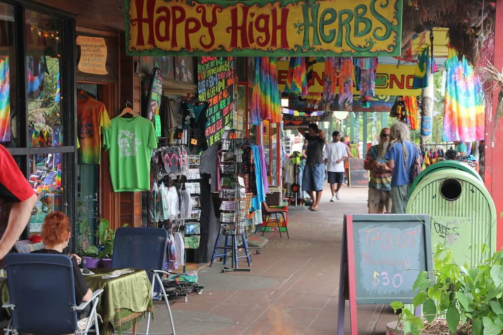 Shopping in Nimbin is a colourful experience.