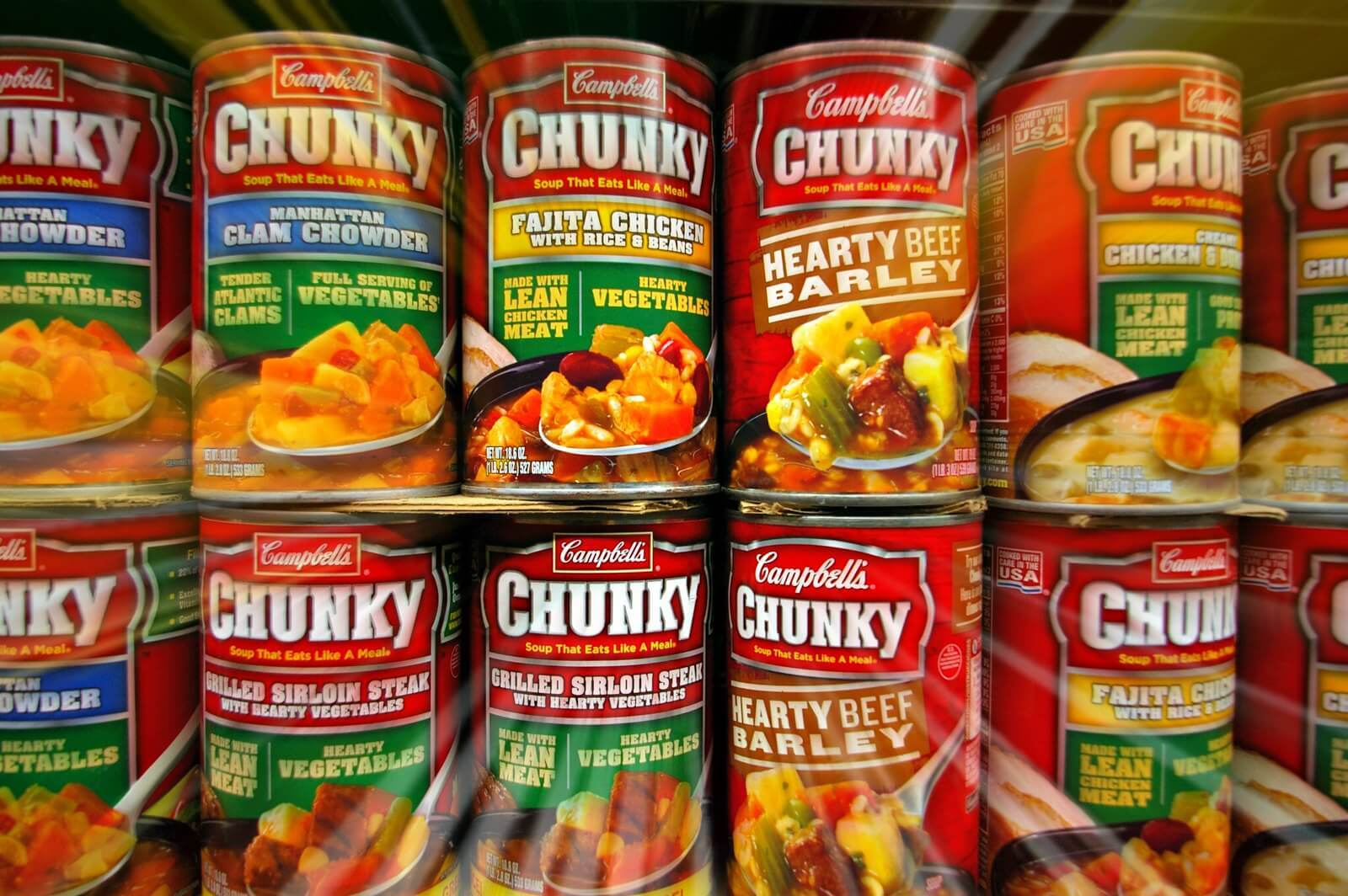 A bunch of chunky Campbells soup cans because of chunking language learning