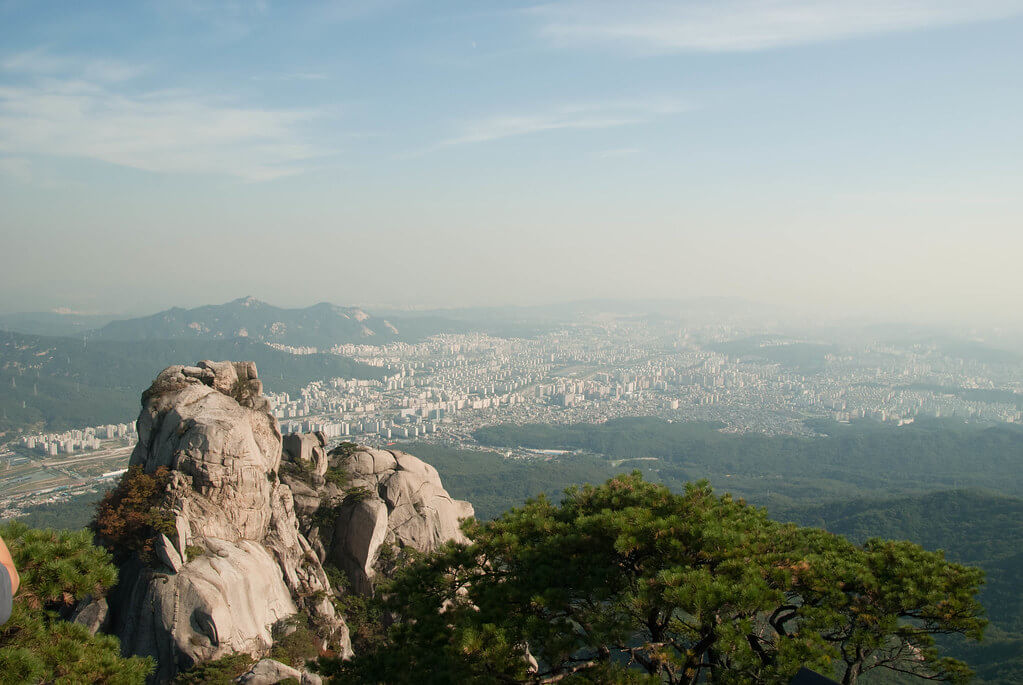 Bukhansan National Park looking out over Seoul