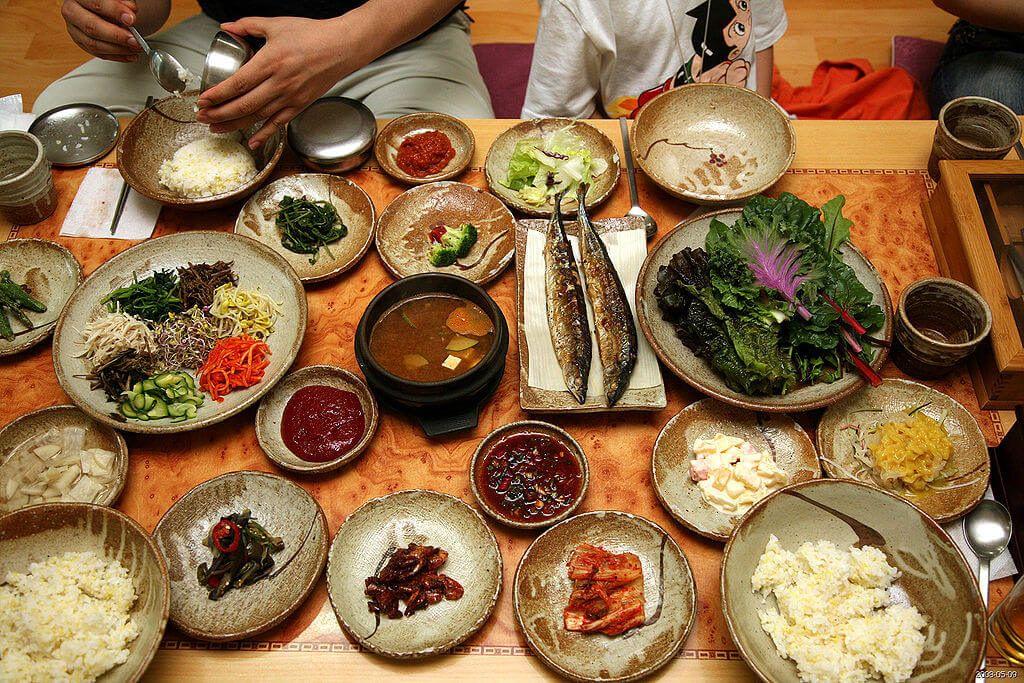 Korean cuisine at a restaurant in Seoul.