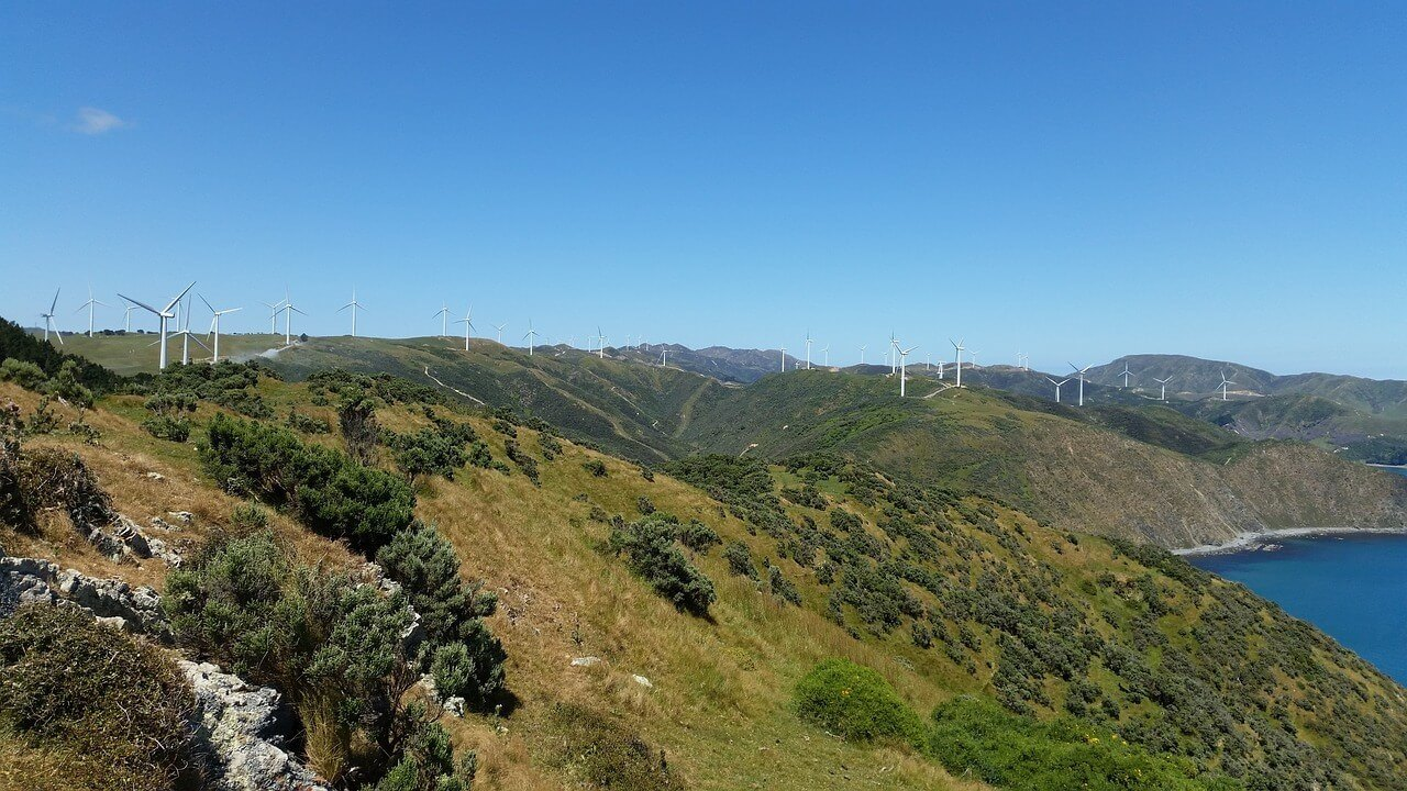 One of the windfarms outside the city