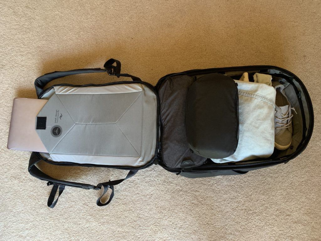 main compartment of Peak Design travel backpack