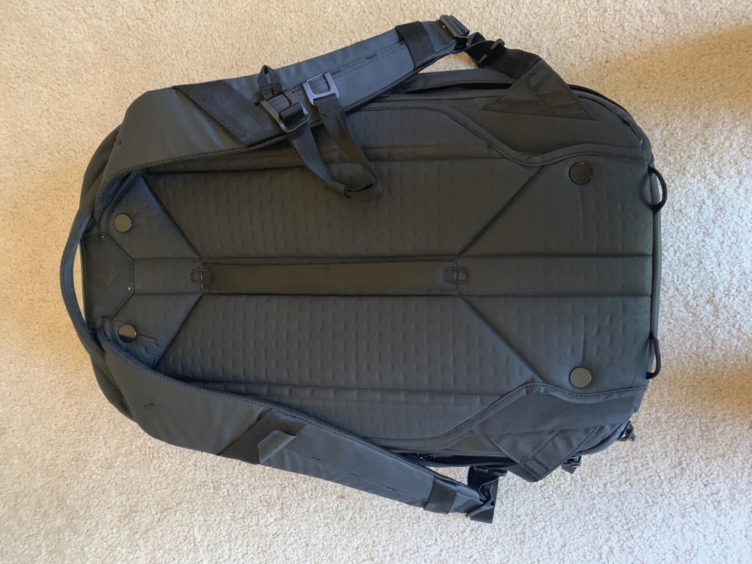 back panel for Peak Design travel backpack 45 L review