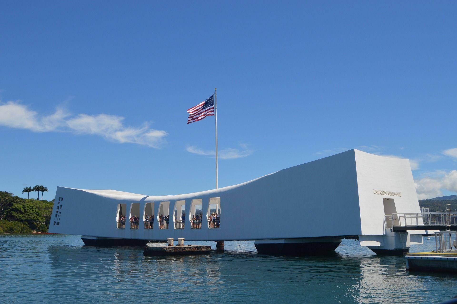 The USS Arizona Memorial at Pearl Harbor, Hawaii