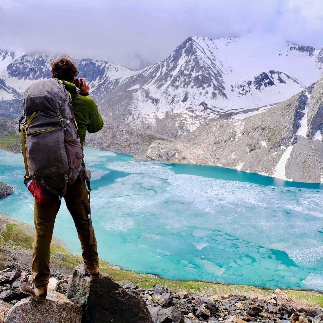 A single adventurer on a hiking trip in Kyrgyzstan