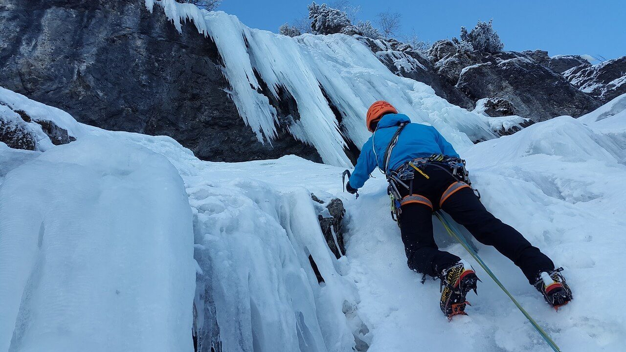 Climbing an ice waterfall is an ultimate bucket list idea
