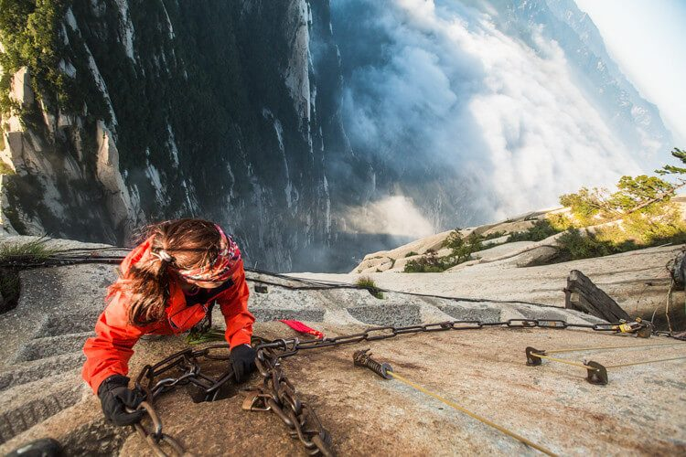 Mount Huashan is the top trips in China's adventure tourism
